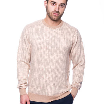 Cashmere Blend Crew Neck Sweater - Chevron Stone/Ivory