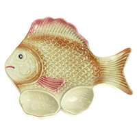 Ceramic Fish Serving Plate - Hand Painted Retro Art in Pink, Beige & Tan - Dipping Sauce Fin Cups - Vintage Home Kitchen Decor
