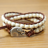 Elephant wrap bracelet, boho jewelry, good luck white Turquoise bracelet, hipster, gift for best friend, lucky jewelry