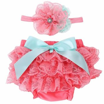 Baby girl Bloomers Diaper Cover and Headband Set,Newborn Tutu Ruffle Panties