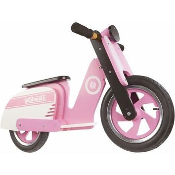 QIYIF kiddimoto kids learn to ride no pedal wooden balance bike scooter pink strip new