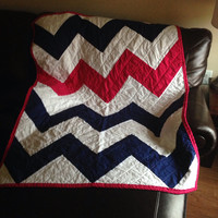 Modern Chevron Zig Zag Lap Quilt Throw - navy blue and pink chevron zig zag