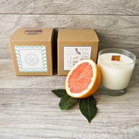 Pink Grapefruit - Wood Wick - Coconut Soy Wax Candle