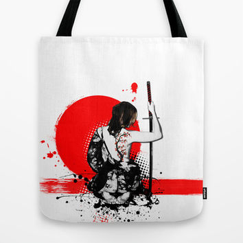 Trash Polka - Female Samurai Tote Bag by Nicklas Gustafsson