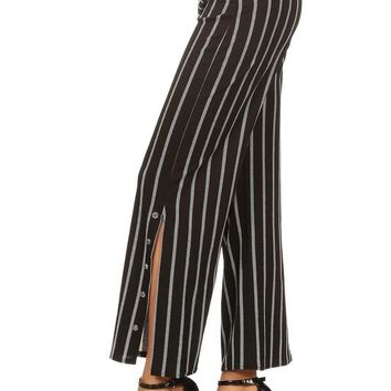 Stripe Pants with Side Slits - Black with Gray Stripe