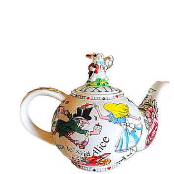 Alice in Wonderland, Café Teapot, White Rabbit Teapot, Wonderland Teapot, England Teapot, Cardew Teapot, Mad Hatter Teapot, Cartoon Teapot