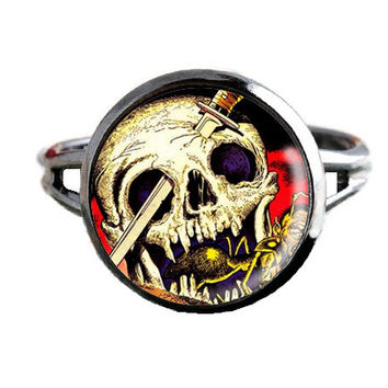 Horror Comic Book Ring - Sword Through Skull - Geeky Jewelry
