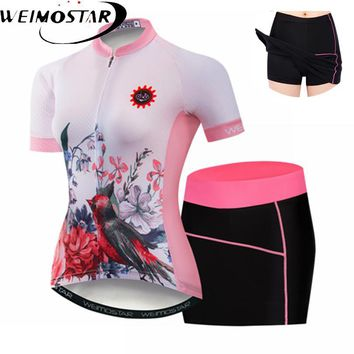 Weimostar Short Sleeve Women's Cycling Jersey team sets bicycle mini dress shorts cycle clothing Maillot Racing Bike Clothes
