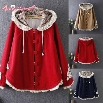 2018 Winter Women Jacket Japanese Style Mori Girl Flower Lace Patchwork Long Sleeve Hooded Wool Plus Velvet Warm Outerwear Coats