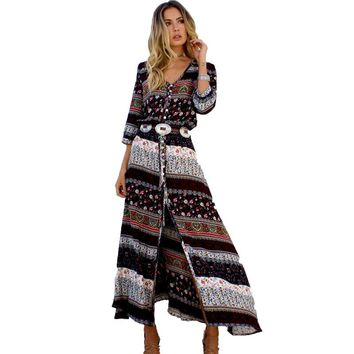 2017 Summer New Bohemian Printing Long Dress Women Maxi Beach Dress Floral Print Retro Hippie Women Clothing  Dress