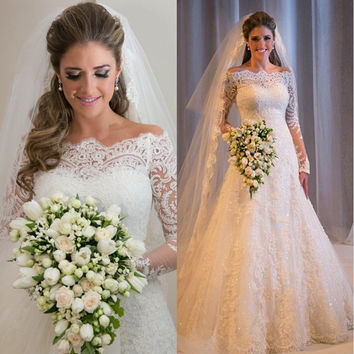 Tulle Lace Appliques Boat Neck Long Sleeves Mermaid Country Wedding Dress