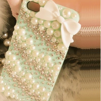 iPhone 5s case iPhone 5c case kawaii iphone case Bows iPhone 5 case Pearl Crystal Rhinestone iPhone 4 case Bling iPhone 4s Custom phone case