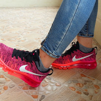Women's Nike Flyknit Air Max Running Shoes 'Black/Pink Foil Hot Lava' (Tmall ORIGINAL)