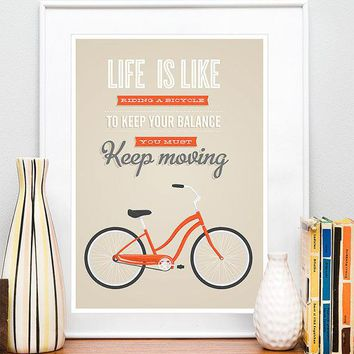 Bicycle Quote Poster  Print Bike Quote Inspirational Quote Retro Bike Tan Wall Decor  Typography Poster Life Is Like A Riding Bicycle