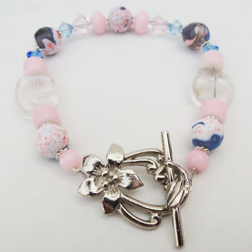 Light Pink, Blue, and Silver Bangle Bracelet Handmade by Lindsey - Beads from Siesta Key, Florida - Unique Silver Flower Bar and Ring Clasp