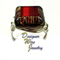 DWJ0287 Czech Glass Garnet Travertine Silver Wire Wrap Ring All Sizes