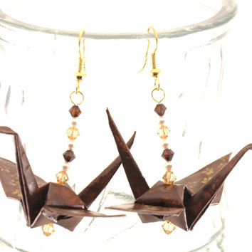Gold Cherry Blossoms on Chocolate Brown Origami Crane Earrings, Gold Plated Japanese Sakura Jewelry