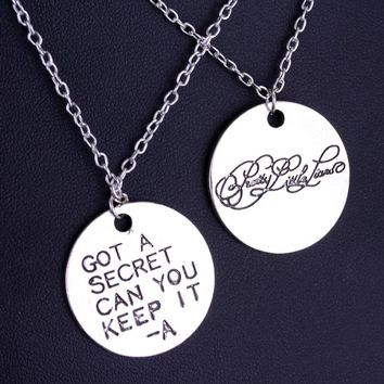 SG Fashion Movie Pretty Little Liars Got A Secret Can You Keep It Message Charm Necklaces Pendant High Quality Silver Lover Gift