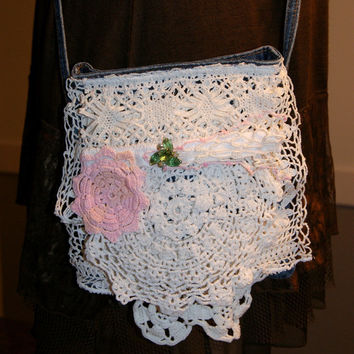 Jeans Bag Cross Body Bag Crossbody Denim Gypsy Romantic Upcycled Bag Pearl Crochet Magnolia Flora