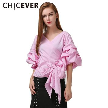 Female Puff Sleeve Women Shirt Sexy Lace up Wrap Tunic Shirts Tops Casual Clothes Summer Autumn
