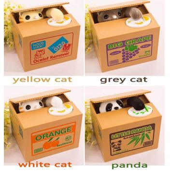 Automatic Stealing Coin Toys Panda Coins Automatic Storage Coin Bank Cat Money Box Novelty & Gag Toys For Children Kids Gifts