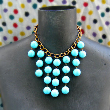 large turquoise bib necklace by alapopjewelry