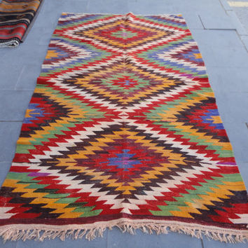 Turkish vintage barak kilim rug,geometric wool rug,soft color rug,turkish oushak rug,peerless rug,85 x 51 faded rug,rustic decor rug,boho !!