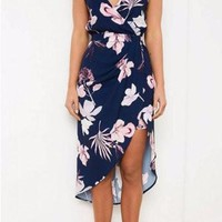 Navy Spaghetti Strap V-Neck Wrap Floral Print Irregular Hem Dress
