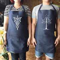 Arwen Evenstar Aragorn White Tree of Gondor Apron set, couple gifts, canvas jeans Apron, lord of the rings, Wedding gift, Family Cooking