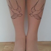 Tattoo Tights - Rockabilly Swallow Birds from EmTeeSee