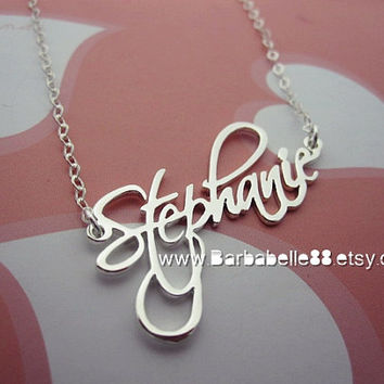 Personalized Name Necklace 925 sterling silver come with Round cable sterling chain.(Script font)