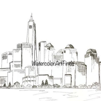 New York City Skyline, Modern art Print, Minimalist drawing, Original Architectural Print, Pen and ink, travel art
