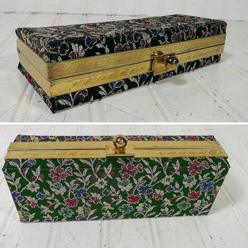 Retro Brocade Jewelry Hinged Case - Vintage Black Floral Fabric & Gold Thread Evening Bag Clutch - Metal Ball Snap Box with Original Mirror