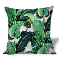 Banana Leaf on Square Pillow Cover