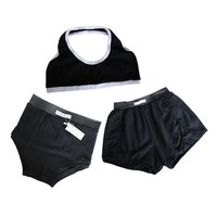 Black Halter Bra, Shorts & Panties Set