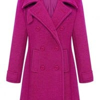 Glamorous Solid Long Sleeve Woolen Coat - OASAP.com