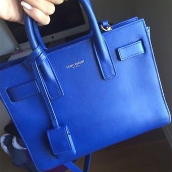 Yves Saint Laurent Blue Calfskin Leather Sac de Jour Tote Bag