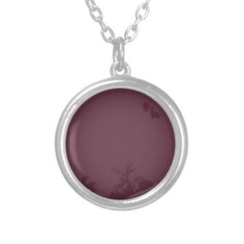 ALMOST MAROON NATURE SILVER PLATED NECKLACE