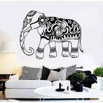 Vinyl Wall Decal India Elephant Animal Ornament Stickers Mural Unique Gift (150ig)