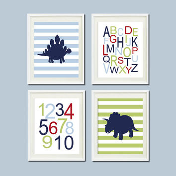 DINOSAUR Theme NURSERY Wall ART Navy Red Alphabet Numbers Baby Boy Artwork Set of 4 Prints Dino Playroom Wall Decor Art Picture Bedding
