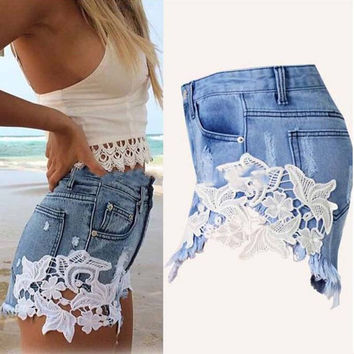 2016 summer new fashion women casual regular button and pockets high quality sexy floral hot sell women shorts