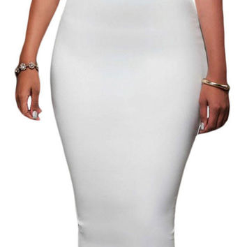 Elastic Waist High Waist Midi Skirt Bodycon White Pencil Skirt With Full-Length Back Zipper Knee Length Office Skirt SM6