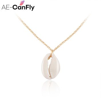 AE-CANFLY Conch Havaiian Shell Pendants Necklace Beach Jewelry Gold Silver Chain Chokers NX293
