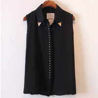 Black Sleeveless Chiffon Blouse with Rivet Metal Design
