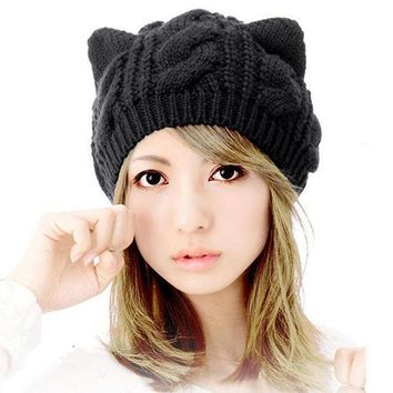 ICIKJG2 Cat Ears Hats For Women Lovely Cute Warm Knitted Beanie Women Caps Winter Autumn Outwear Hats Gorros Mujer Invierno#B106