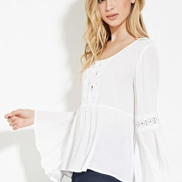 832083ba4b176 Crochet-Trim Peasant Top