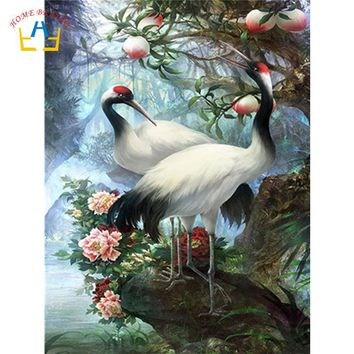 coloring by numbers on canvas with acrylic paints wall art animals crowned crane pictures for living room home decoration WY5226