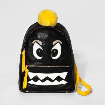 Under One Sky Serious Face Monster Backpack - Black