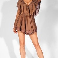 Hang With Me Brown Sheer Chiffon Long Sleeve V Neck Ruffle Cut Out Side Mini Dress