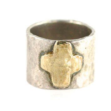 Hammered Sterling Silver & Gold Cross Ring